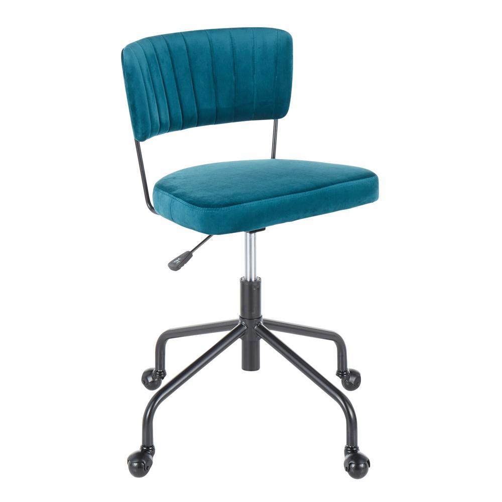 Tania Black Task Chair Teal Velvet