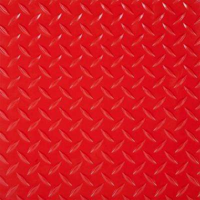 RaceDay 2 ft. x 2 ft. Red Peel and Stick Diamond Tread Polyvinyl Tile (40 sq. ft. / case)