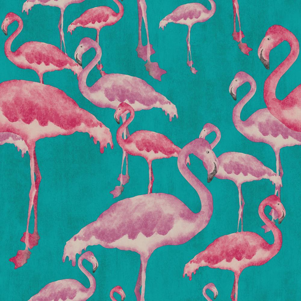 Arthouse Flamingo Beach Fuschia Unpasted Wallpaper