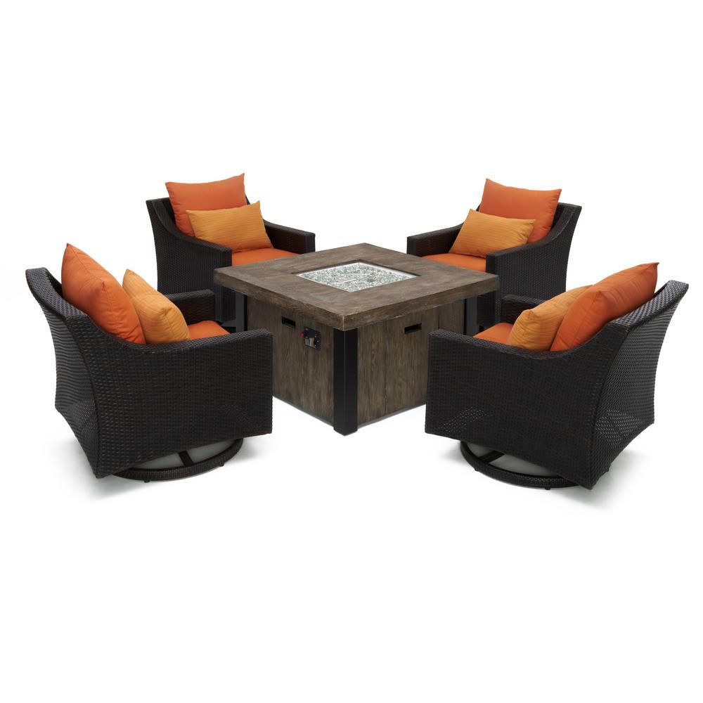Deco 5-Piece All-Weather Wicker Patio Fire Pit Patio Conversation Set with Tikka Orange Cushions