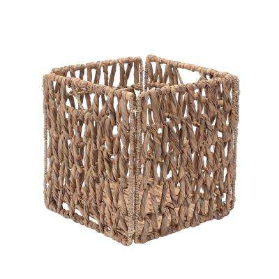 12 in. x 12 in. Square Hand-Woven Water Hyacinth Wicker Foldable Basket in Natural (2-Pack)