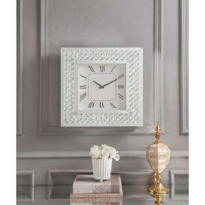 Lotus Mirrored and Faux Crystals Wall Clock