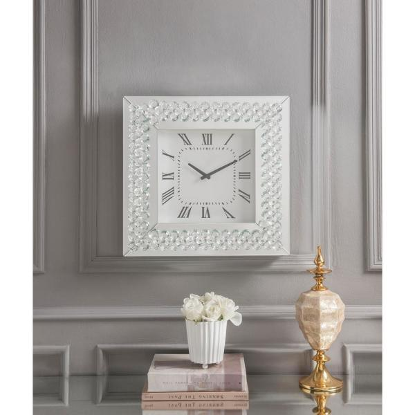 Acme Furniture Lotus Mirrored And Faux Crystals Wall Clock