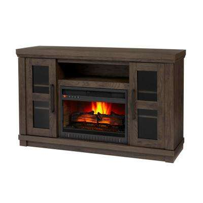 Caufield 54 in. Media Console Infrared Electric Fireplace in Vintage Warm Oak