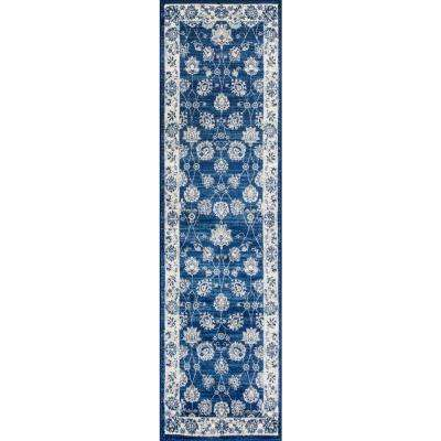 Modern Persian Vintage Moroccan Traditional Navy/Light Grey 2 ft. x 8 ft. Runner Rug