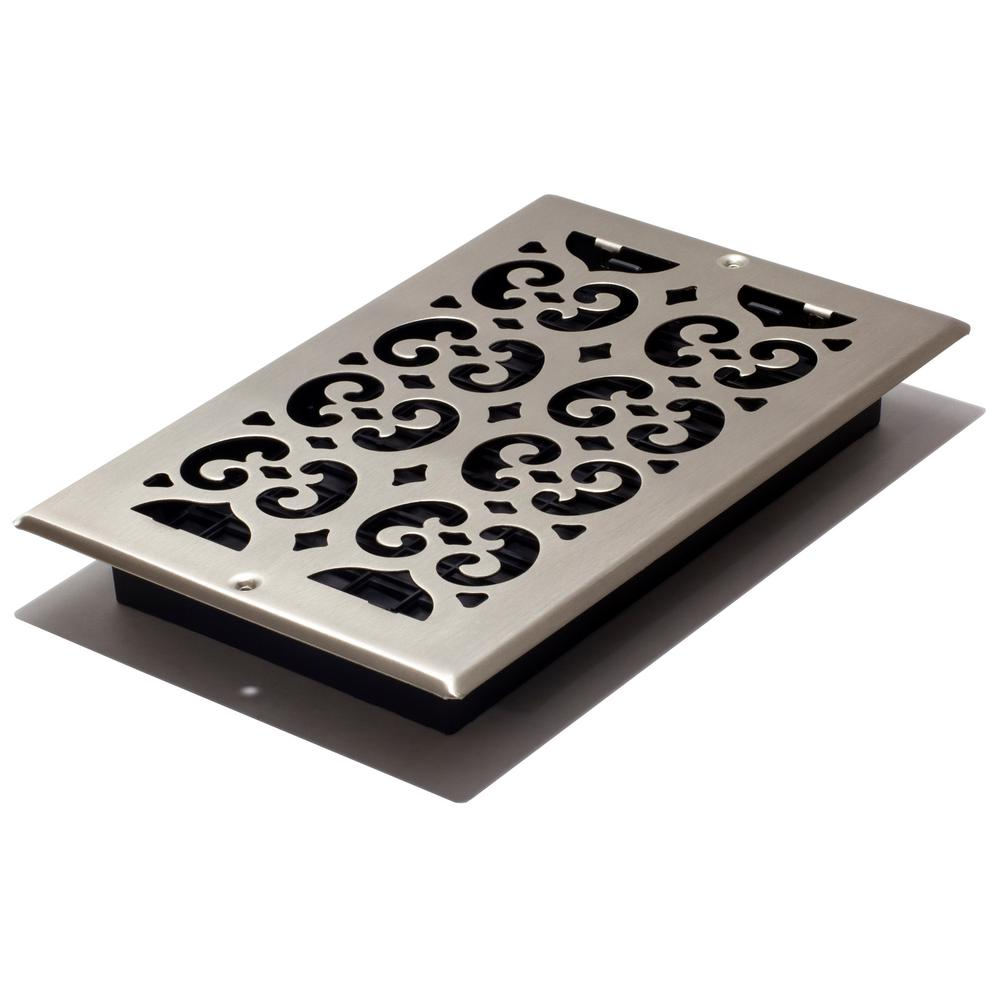 Decor Grates 10 In X 6 Brushed Nickel Steel Scroll Wall Register