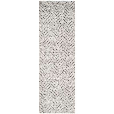 Adirondack Ivory/Charcoal 3 ft. x 12 ft. Runner Rug