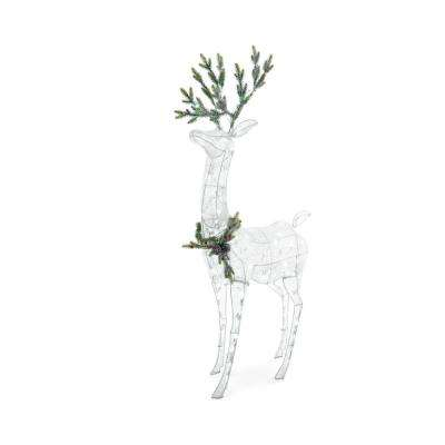Icicle Shimmer 63 in. 160-Light LED White Acrylic Deer