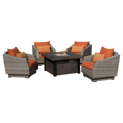 Cannes 5-Piece Patio Fire Pit Seating Set with Tikka Orange Cushions