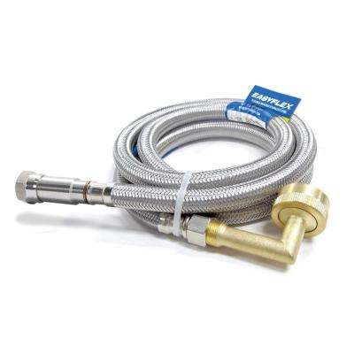 SafeFlow 3/8 in. C with EFV x 3/4 in. Garden Hose Elbow 72 in. Stainless Steel Braided Dishwasher Connector