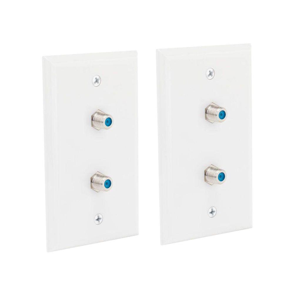 1 Gang Dual Coaxial Wall Plate, White (2-Pack)