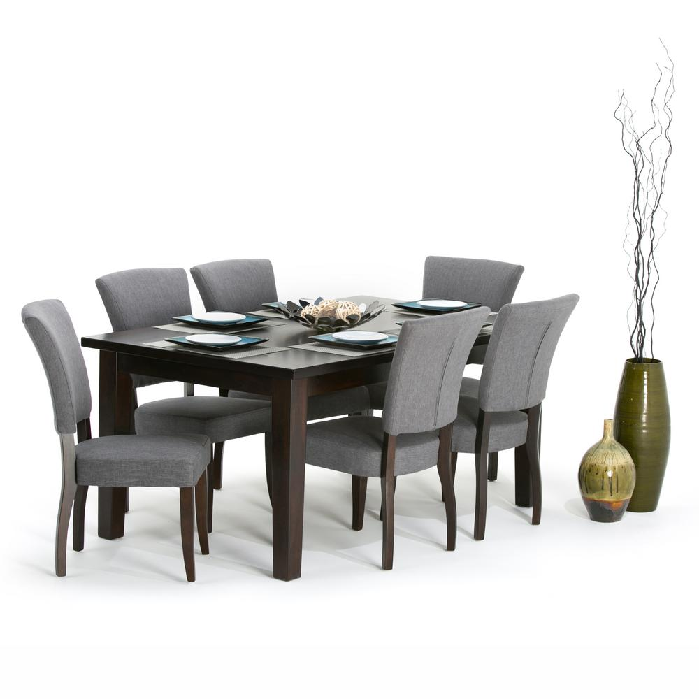 Simpli home joseph 7 piece slate grey dining set axcds7jo for 7 piece dining room sets under 1000