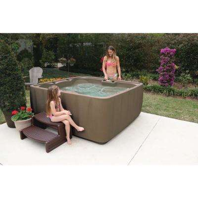 Premium 600 6-Person Plug and Play Hot Tub with 29 Stainless Jets, Heater, Ozone and LED Waterfall in Brownstone