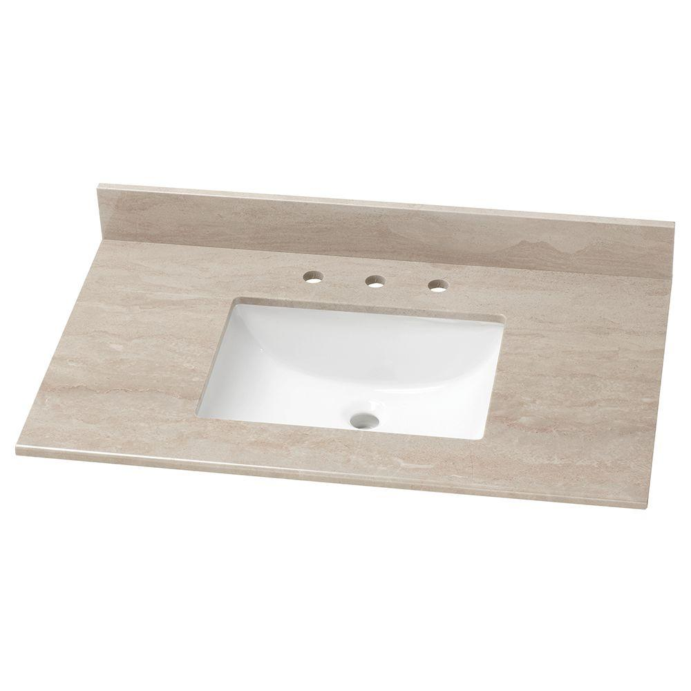 37 in. Stone Effects Vanity Top in Kaiser Grey with White