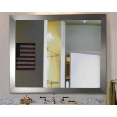 29.5 in. x 35.5 in Modern Stainless Silver Non Beveled Floor Wall Mirror