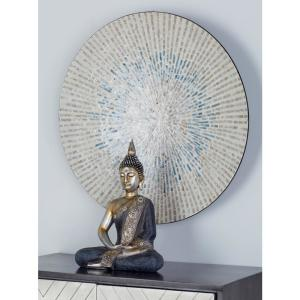 Beige Wood and Shell Radial Design Wall Decor with Blue Accents by