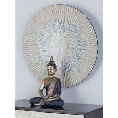 Beige Wood and Shell Radial Design Wall Decor with Blue Accents