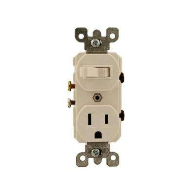 15 Amp Commercial Grade Combination Single Pole Toggle Switch and Receptacle, White