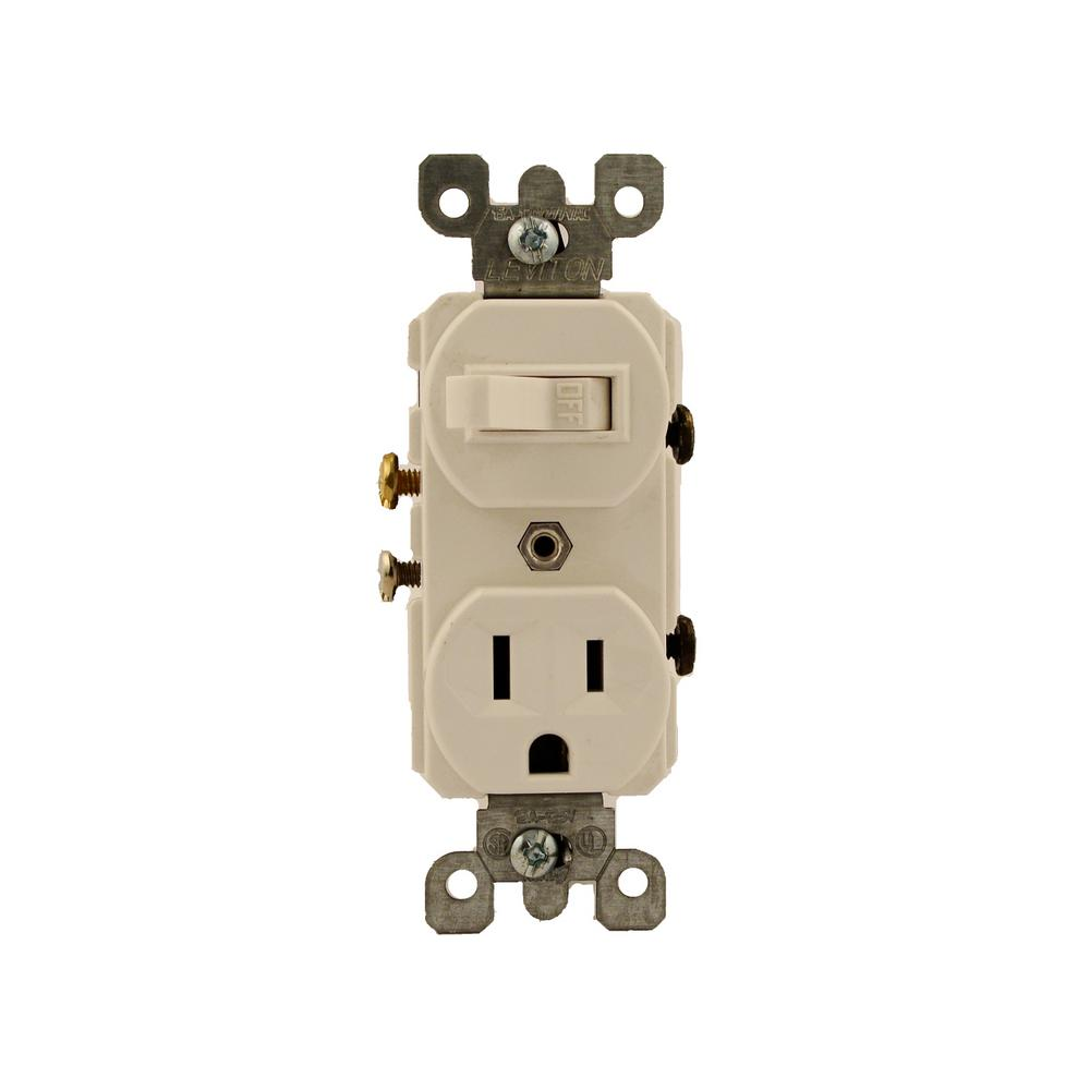 leviton 15 amp commercial grade combination single pole toggle switch and  receptacle, white-5225-w - the home depot  the home depot