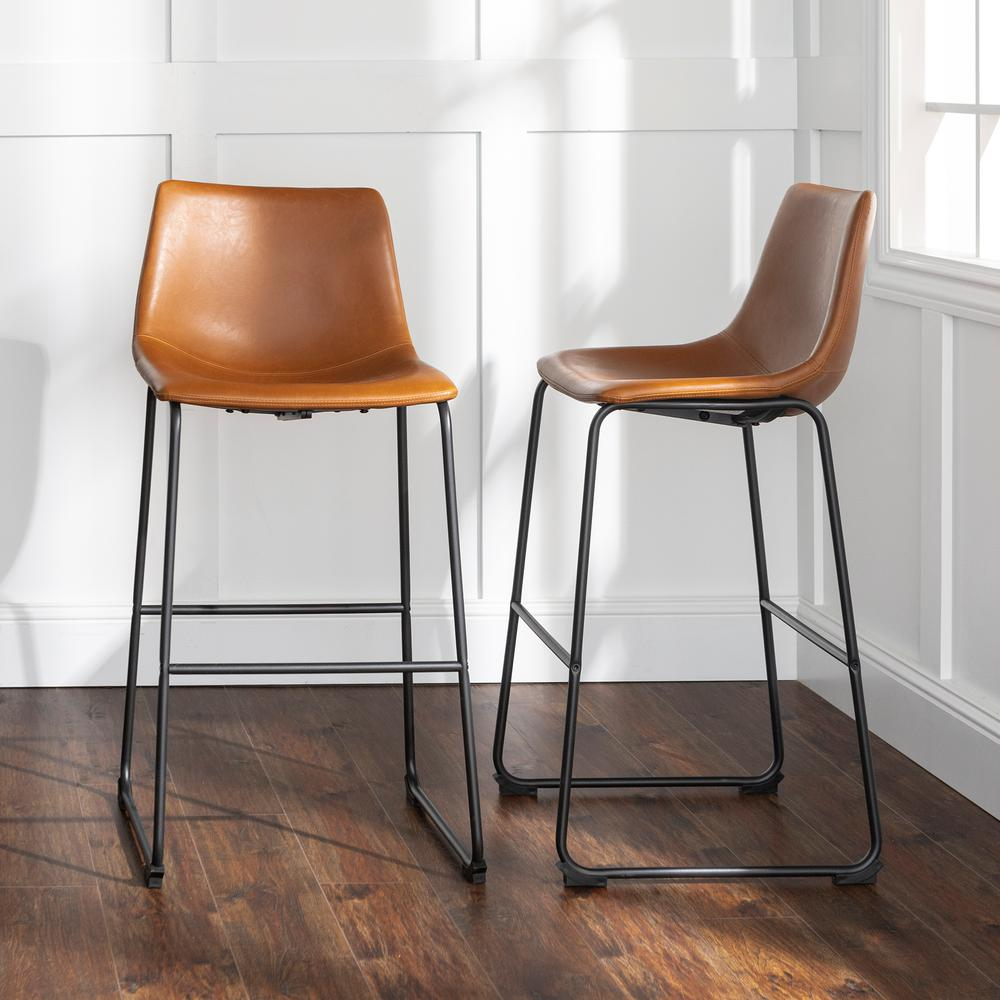 30'' Faux Leather Bar Stool 2 pack - Whiskey Brown (FPU-31)