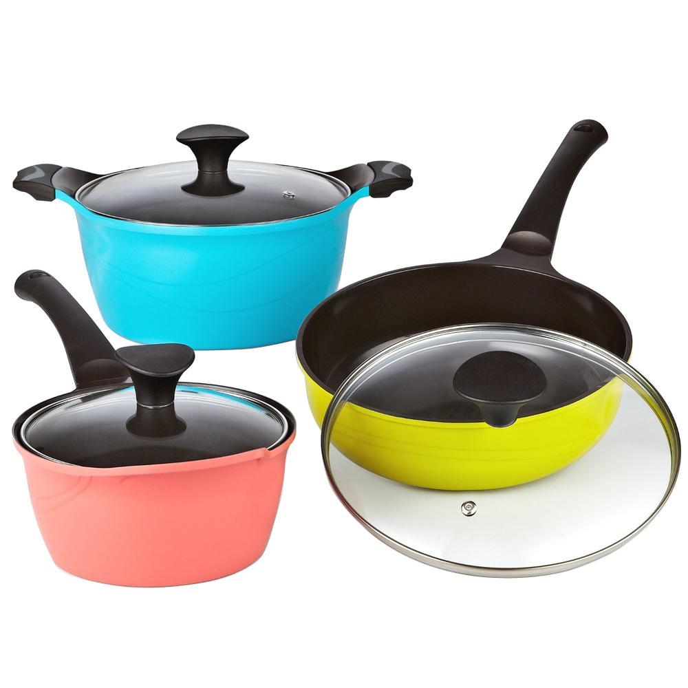 6-Piece Multi-Color Cookware Set with Lids