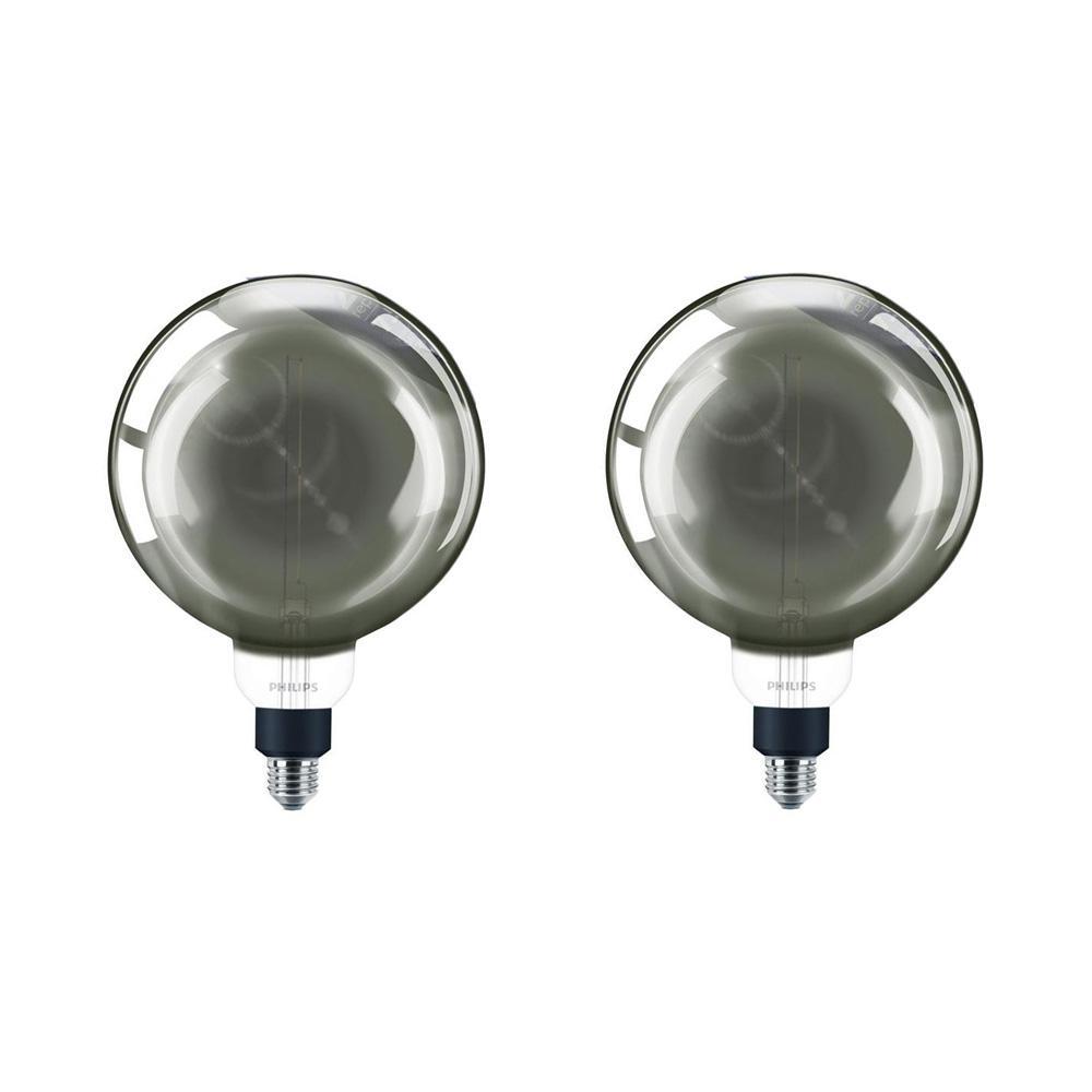 25-Watt Equivalent G63 Dimmable Modern Glass Edison LED Large Light Bulb Cool White (4000K) (2-Pack)