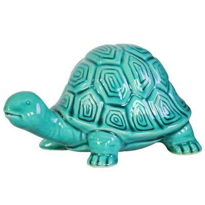 5 in. H Tortoise Decorative Figurine in Turquoise Gloss Finish