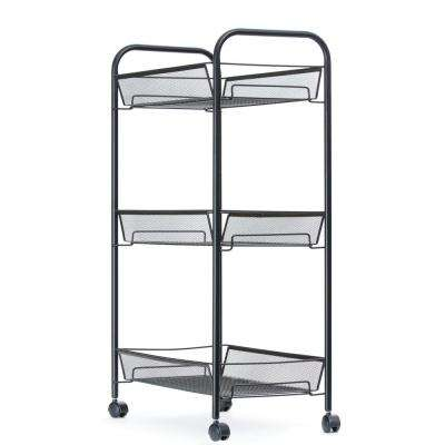 Roll Rolling Metal Mesh 3-Shelf Coffee Cart in Black