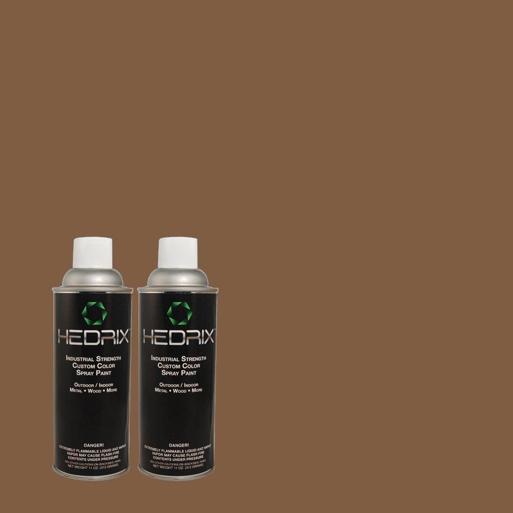 Hedrix 11 oz. Match of MQ2-5 Well Bred Brown Semi-Gloss Custom Spray Paint (2-Pack)