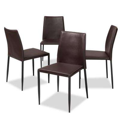 Pascha Dark Brown Faux Leather Upholstered Dining Chair (Set of 4)