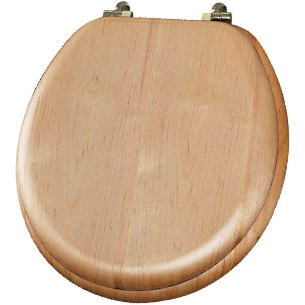 Mayfair Natural Reflections Round Closed Front Toilet Seat in Maple