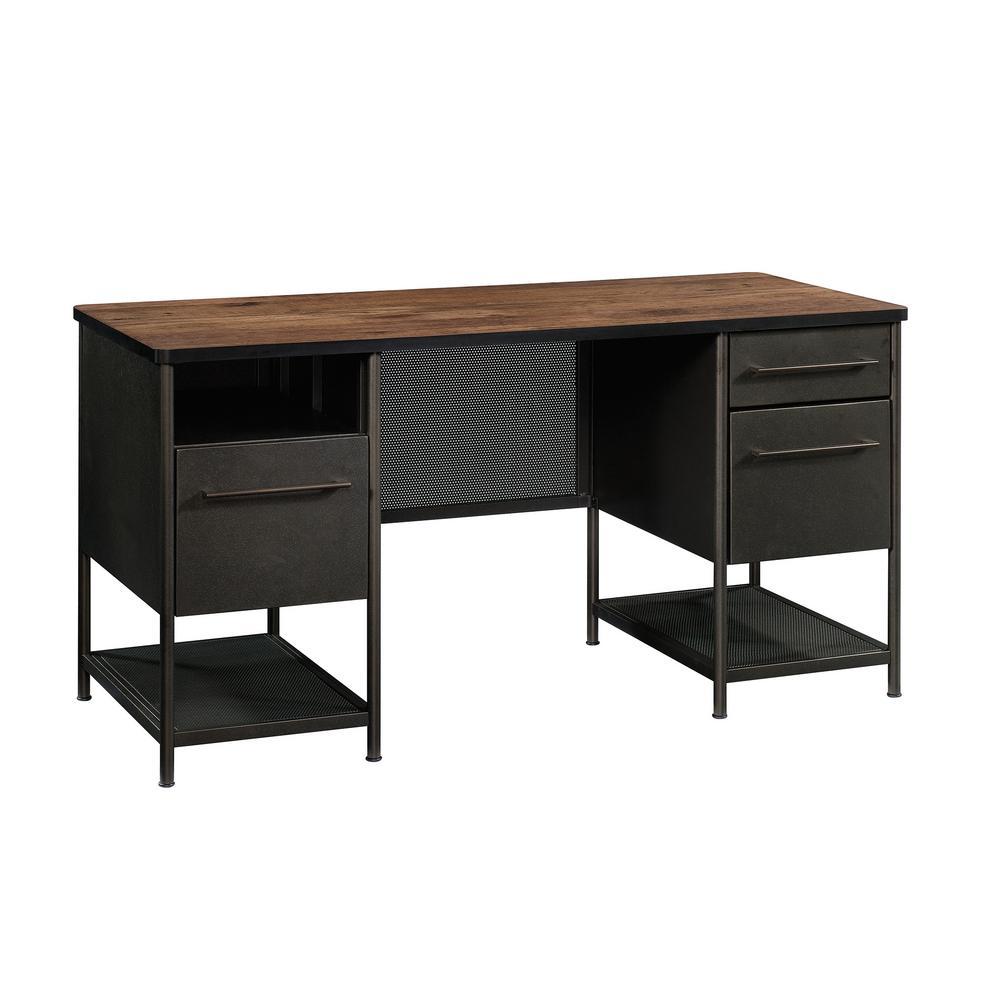 Boulevard Cafe Black and Vintage Oak Executive Desk