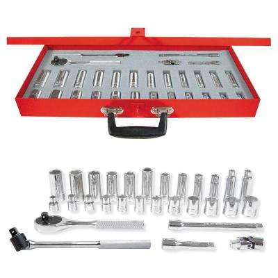 3/8 in. Drive 6-Point Metric Standard & Deep Hand Socket & Accessories Set (29-Piece)
