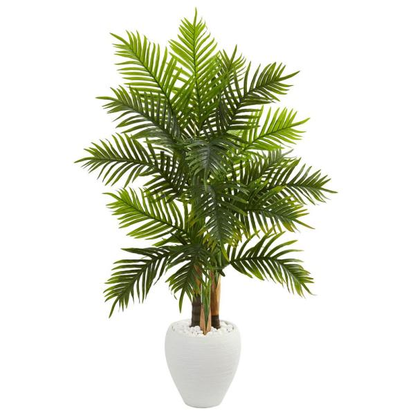 Indoor 5 ft. Areca Palm Artificial Tree in White Planter Real Touch
