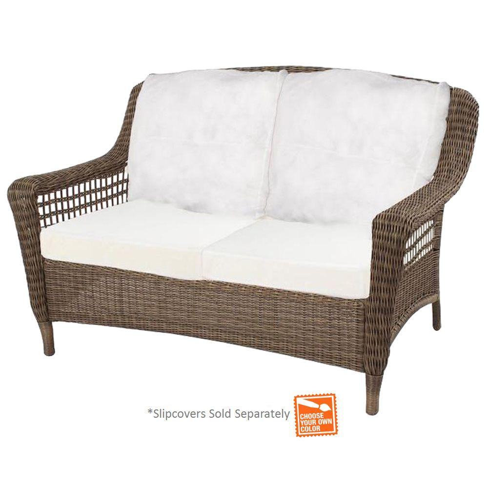 Charming Hampton Bay Spring Haven Grey Wicker Outdoor Patio Loveseat With Cushion  Insert (Slipcovers Sold Separately