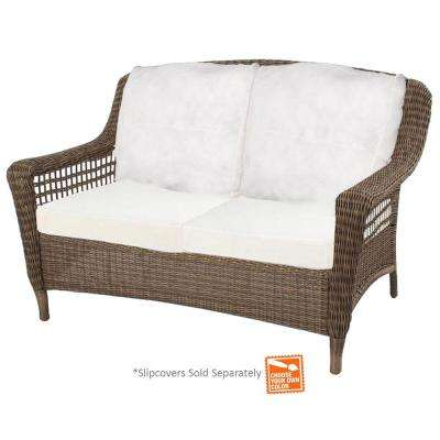 Spring Haven Grey Wicker Outdoor Patio Loveseat with Cushion Insert (Slipcovers Sold Separately)