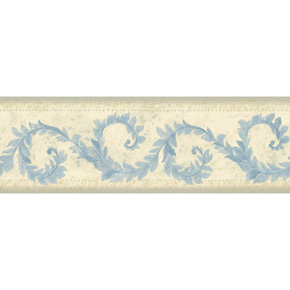 The Wallpaper Company 6.83 in. x 15 ft. Blue Transitional Vine Border