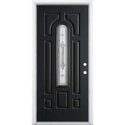 36 in. x 80 in. Providence Center Arch Jet Black Left Hand Painted Smooth Fiberglass Prehung Front Door w/ Brickmold