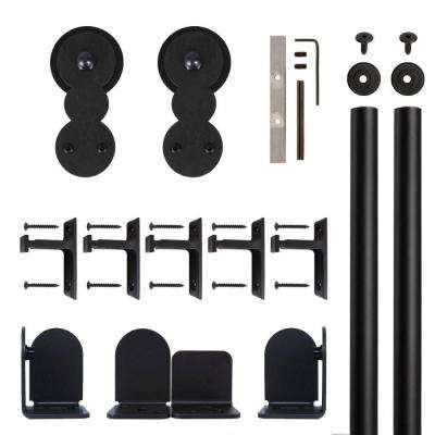 Circles Black Rolling Door Hardware Kit for 1-1/2 in. to 2-1/4 in. Door