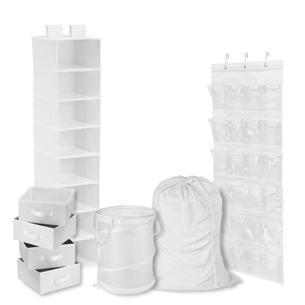 Honey-Can-Do White - Back to School Room and Laundry Organizer kit (8-Piece)