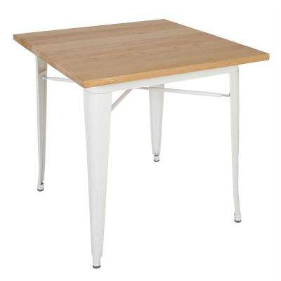 Trattoria White Dining Table with Oak Top