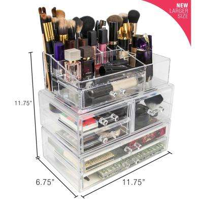 Sorbus 6.75 in. x 11.75 in. Acrylic Stackable 1-Cube Organizer