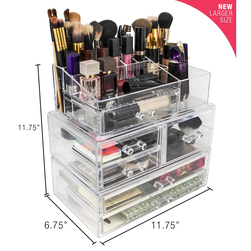 Sorbus 6.75 in. x 11.75 in. Acrylic Stackable 1-Cube Organizer-MUP ...