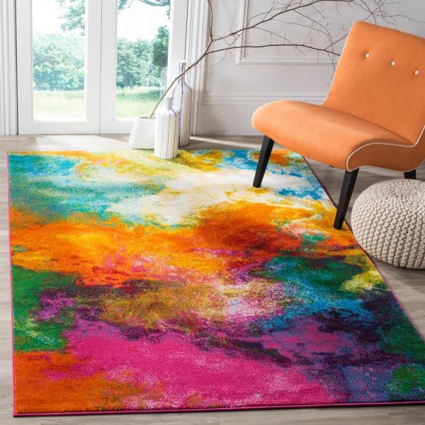Safavieh Watercolor Orange Green 8 Ft X 10 Ft Area Rug Wtc619d 8 The Home Depot