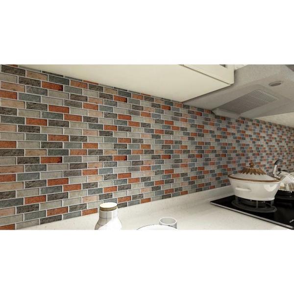 Art3dwallpanels 12 In X 12 In Vinyl Peel And Stick Backsplash Tiles In Red Brick A17hd033p10 The Home Depot