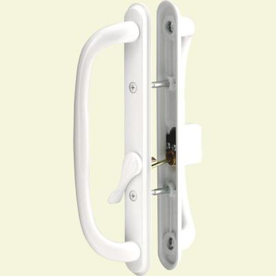 White Diecast Keyed Sliding Door Handle Set with 10 in. Pull