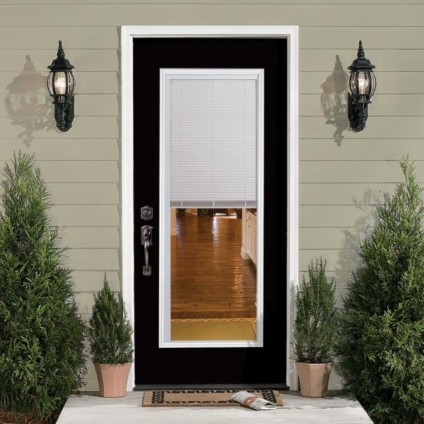 Masonite 32 In X 80 In Mini Blind Right Hand Inswing Painted Steel Prehung Front Exterior Door No Brickmold 22129 The Home Depot