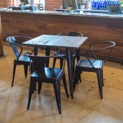 Loft Style Glossy Black Dining Set with Wooden Tops