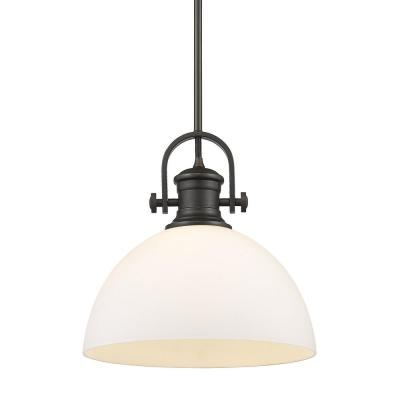 Hines 1-Light Rubbed Bronze with Opal Glass Pendant