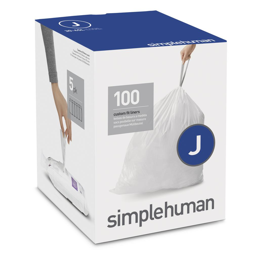 Simplehuman 8 12 Gal Custom Fit Trash Can Liner Code J
